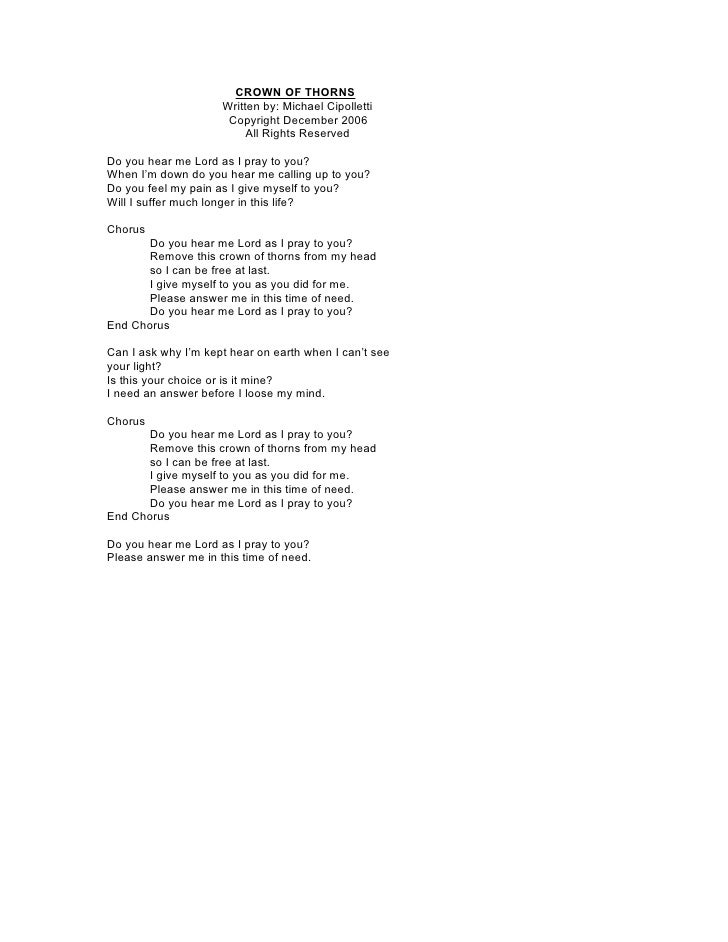 CROWN OF THORNS                      Written by: Michael Cipolletti                       Copyright December 2006         ...