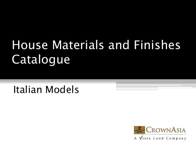 House Materials and Finishes Catalogue Italian Models