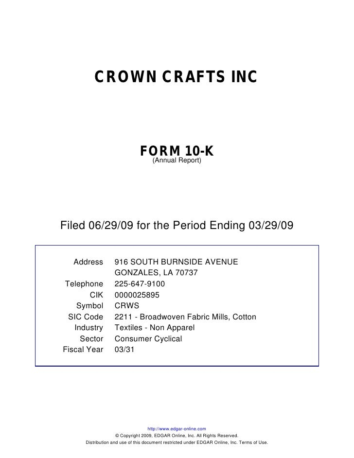 Q2 2009 Earning Report of Crown Crafts, Inc.