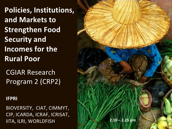Policies, Institutions,and Markets toStrengthen FoodSecurity andIncomes for theRural PoorCGIAR ResearchProgram 2 (CRP2)IFP...