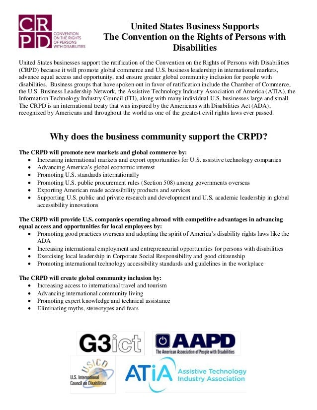 United States Business Supports The Convention on the Rights of Persons with Disabilities United States businesses support...