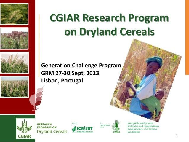 1 CGIAR Research Program on Dryland Cereals Generation Challenge Program GRM 27-30 Sept, 2013 Lisbon, Portugal