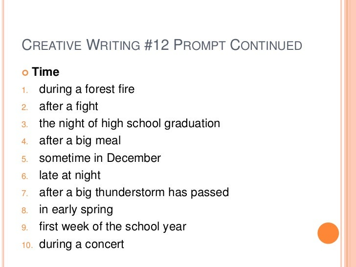 Creative writing assignments for high school
