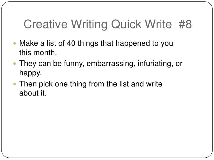 Creative writing lists