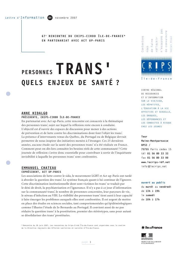 """Rencontre du CRIPS / Act Up-Paris : """"Personnes trans : quels enjeux de santé ?"""" - Compte-rendu"""