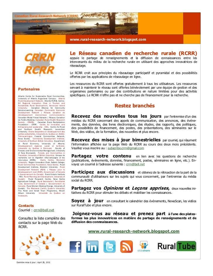 www.rural-research-network.blogspot.com                                                           Le Réseau canadien de re...