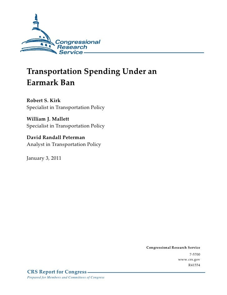 Transportation Spending Under an Earmark Ban