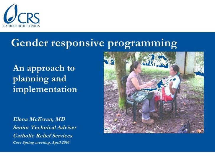 Gender responsive programming: An approach to planning and implementation