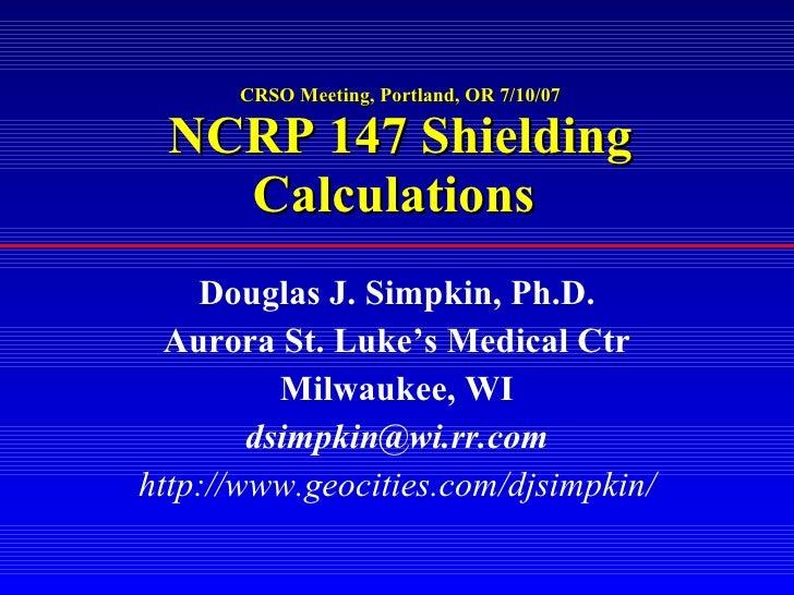 Crso Simpkin Radiation Shielding Design