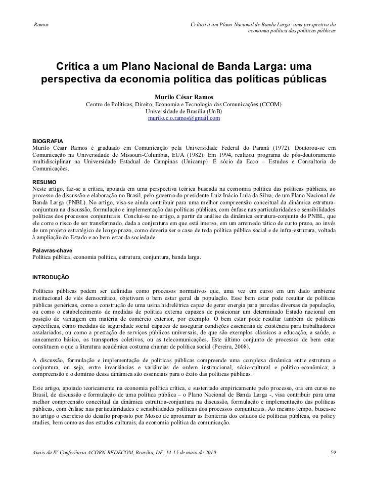 Crítica a um plano nacional de banda larga perspectiva da economia política das políticas públicas - Murilo César Ramos (2010)