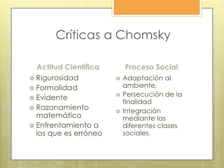Críticas a Chomsky  Actitud Científica       Proceso Social Rigurosidad             Adaptación al Formalidad           ...