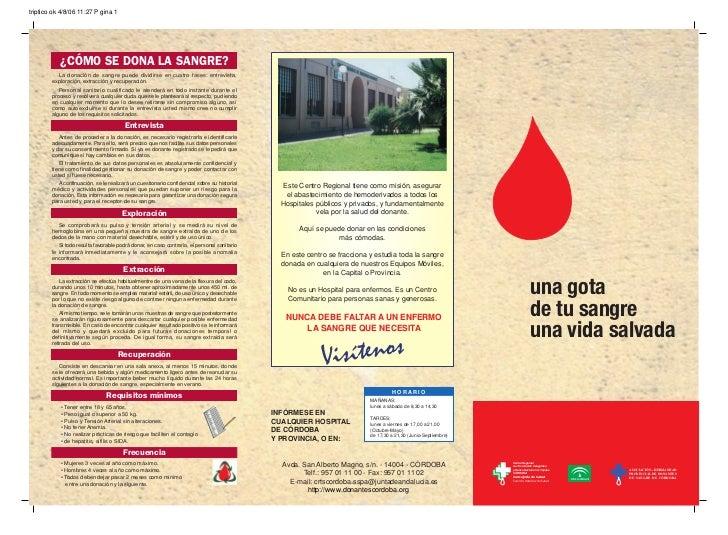 triptico ok 4/8/06 11:27 P gina 1           ¿CÓMO SE DONA LA SANGRE?          La donación de sangre puede dividirse en cua...