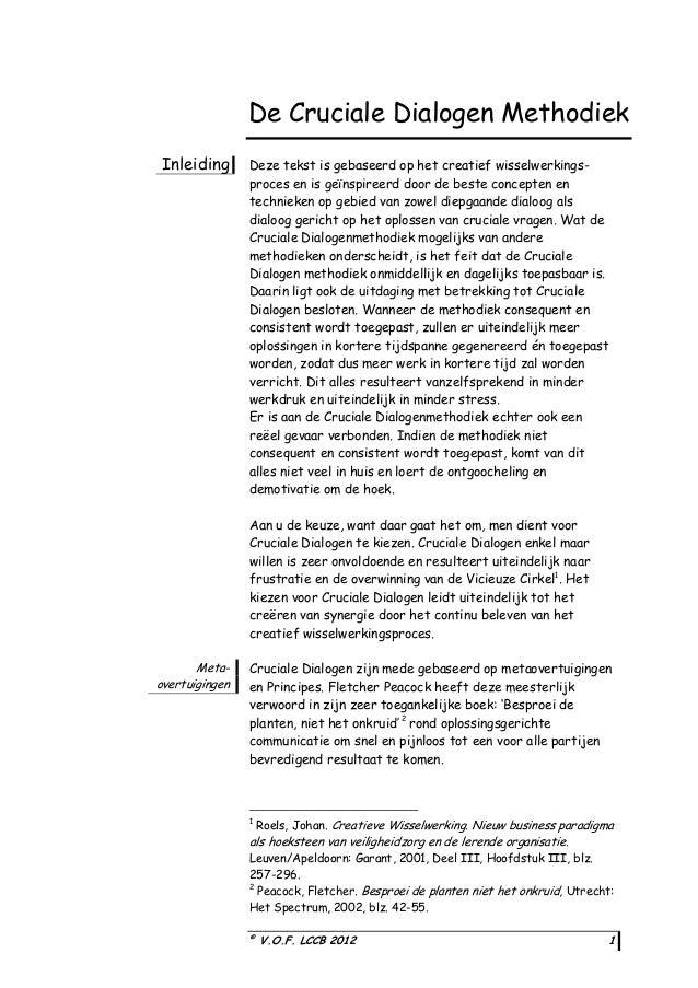 De Cruciale Dialogen Methodiek Inleiding  Deze tekst is gebaseerd op het creatief wisselwerkingsproces en is geïnspireerd ...