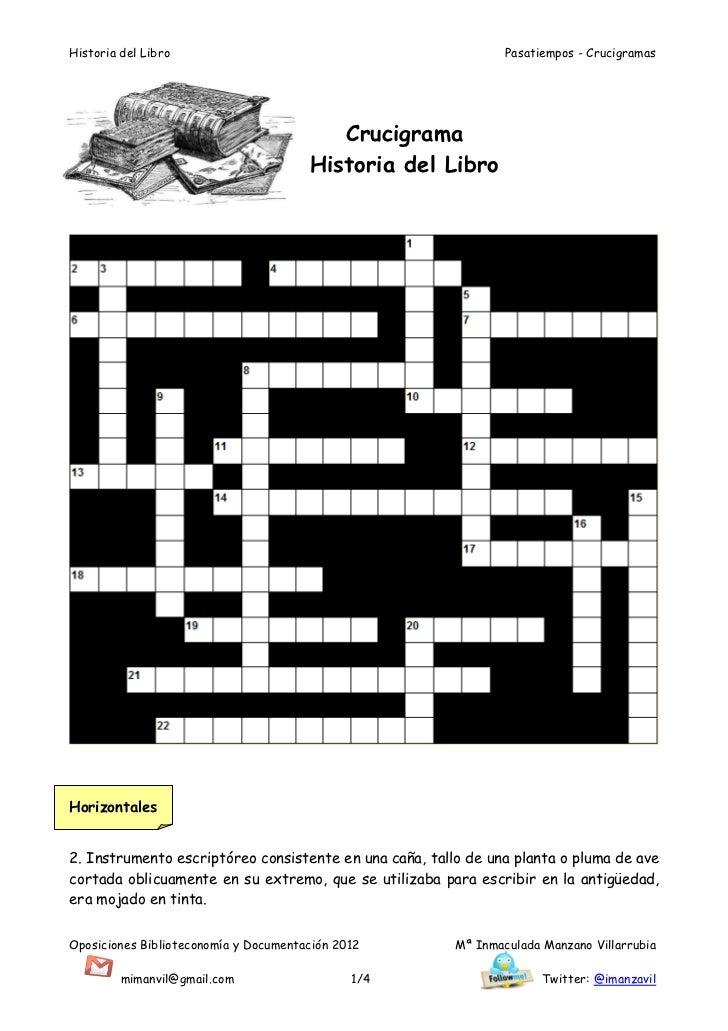 Historia del Libro                                              Pasatiempos - Crucigramas                                 ...