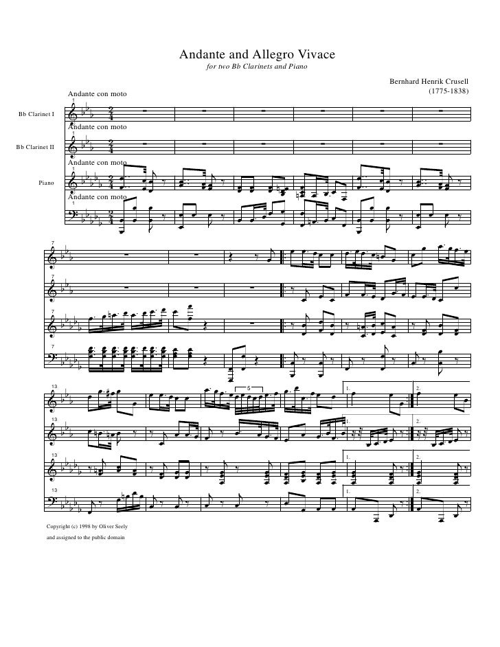 Andante and Allegro Vivace                                                                        for two Bb Clarinets and...