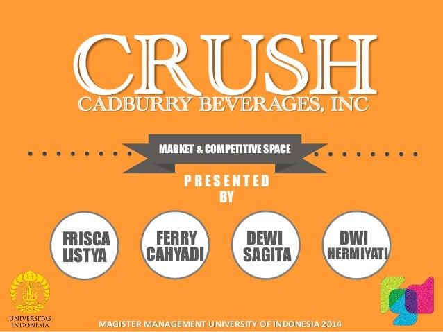 cadbury beverages inc crush brand In some countries of latin america the crush brand is  orange crush may refer to: crush (beverage  called cadbury beverages canada inc cadbury plc spun.