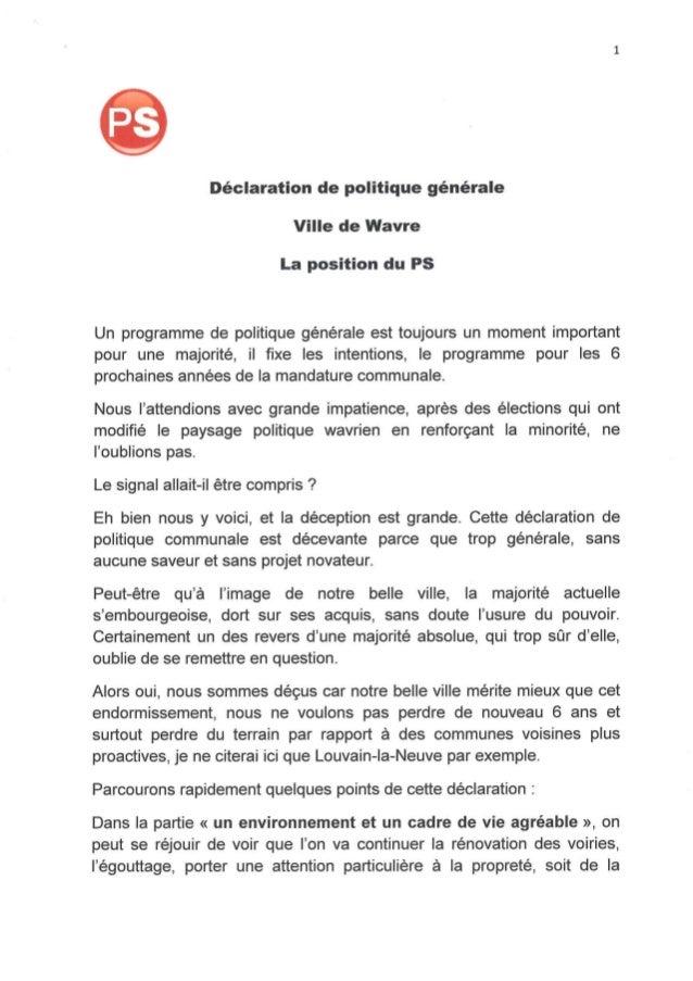 Déclaration politique communale : la réaction de Stéphane Crusnière (PS)