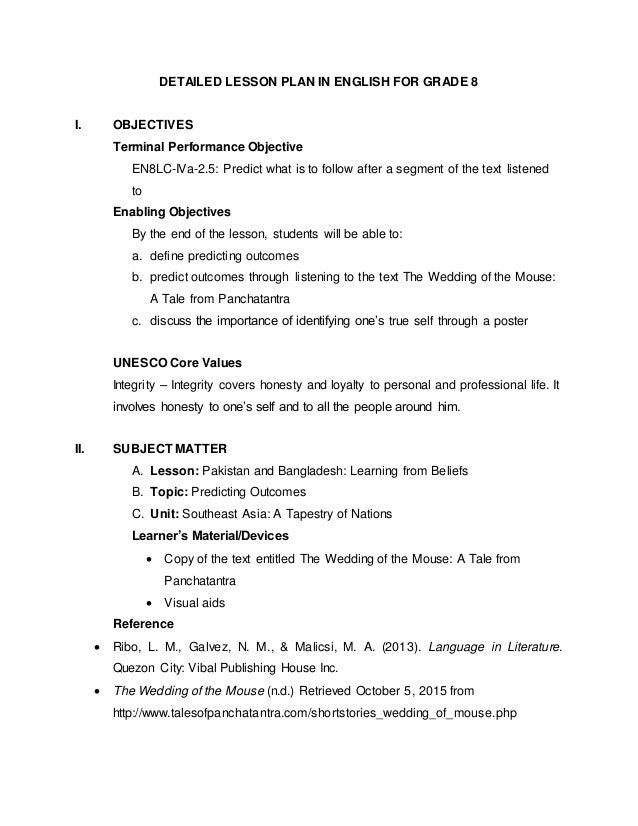 detailed lesson plan in english 8 Example of english lesson plan:adjectives  english for today, pages 8-17  the student describes the object using detailed adjectives so that the partner can.
