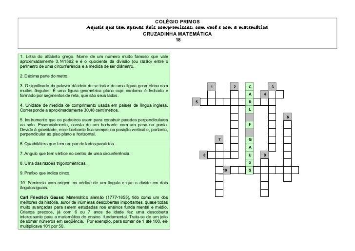 Cruzadinha matemática - 18