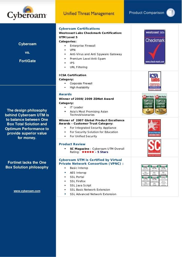 Cyberoam Certifications                          Westcoast Labs Checkmark Certification:                          UTM Leve...