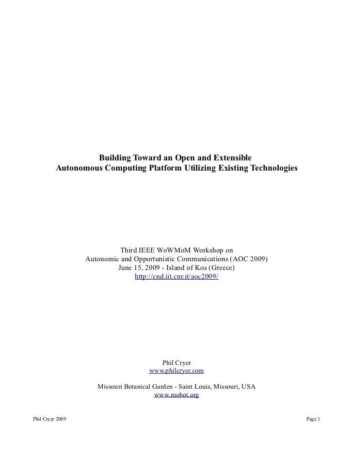 Building Toward an Open and Extensible          Autonomous Computing Platform Utilizing Existing Technologies             ...