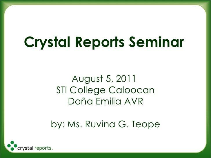 Crystal reports seminar