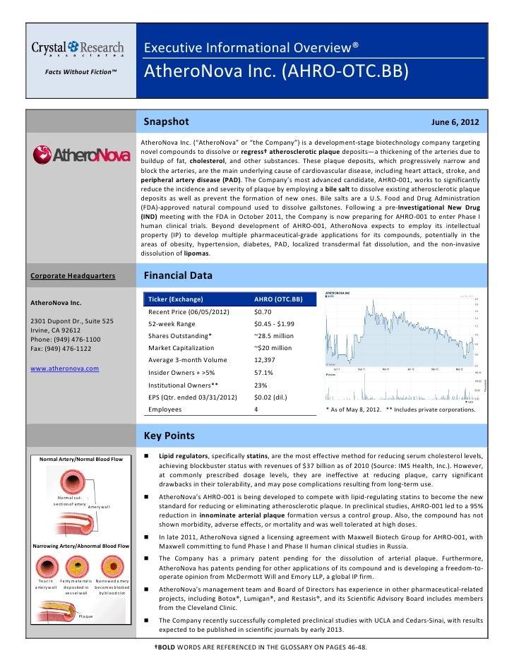 Crystal Research AtheroNova Executive Overview_6.6.12