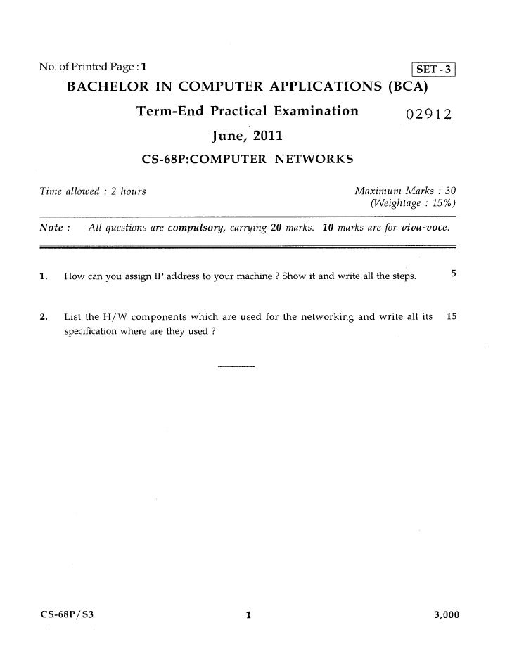 No. of Printed Page :1                                                              SET - 3     BACHELOR IN COMPUTER APPLI...