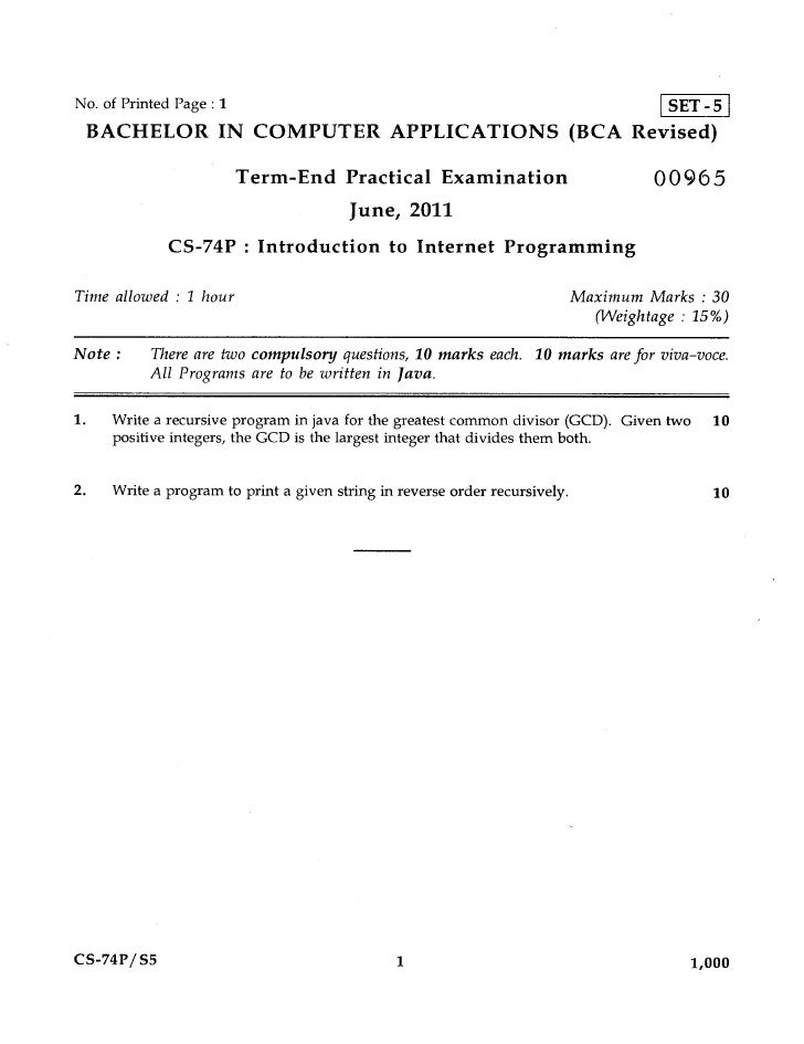 No. of Printed Page : 1                                                                 SET - 5 BACHELOR IN COMPUTER APPLI...