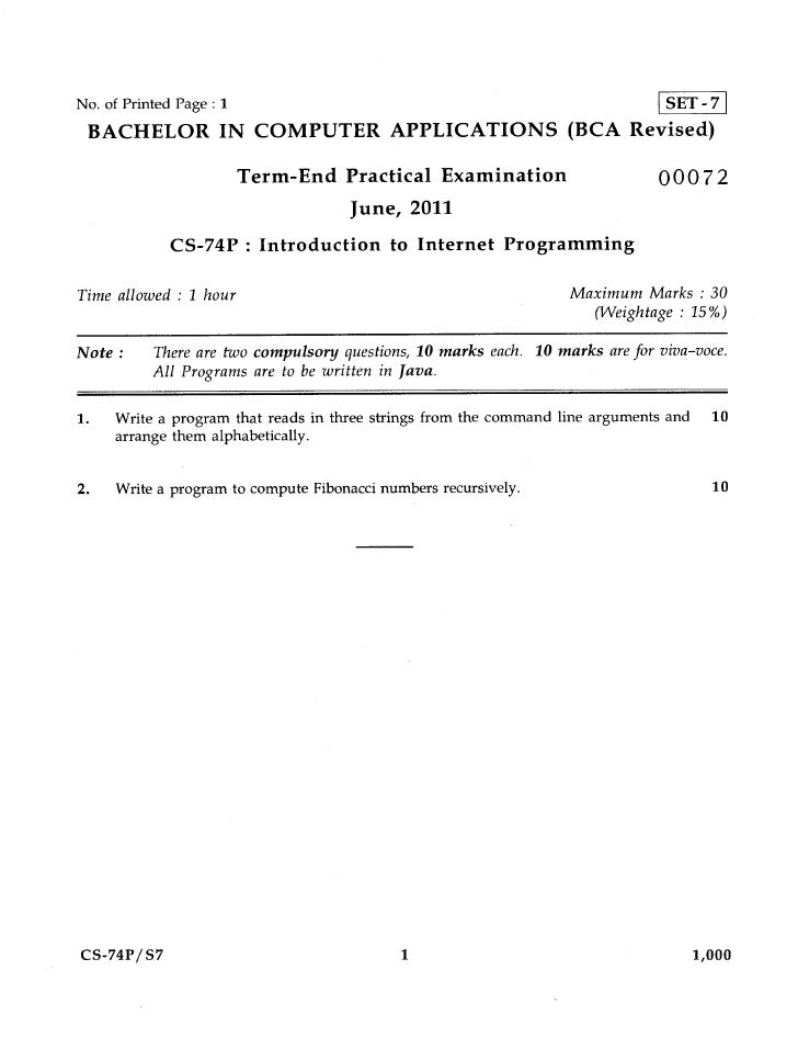 No. of Printed Page : 1                                                         SET -7 BACHELOR IN COMPUTER APPLICATIONS (...