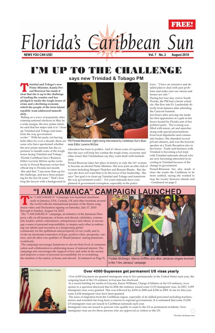 I'M UP TO THE CHALLENGE                                                 says new Trinidad & Tobago PM  T          rinidad ...