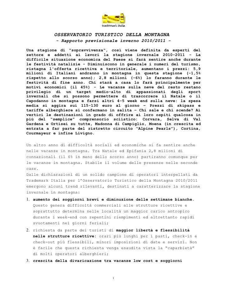 Comunicato Stampa Osservatorio Turistico della Montagna 2010-2011
