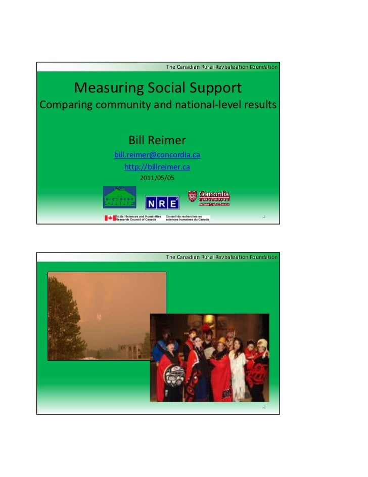 The Canadian Rural Revitalization Foundation      Measuring Social SupportComparing community and national‐level results  ...
