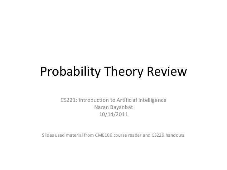 Cs221 probability theory