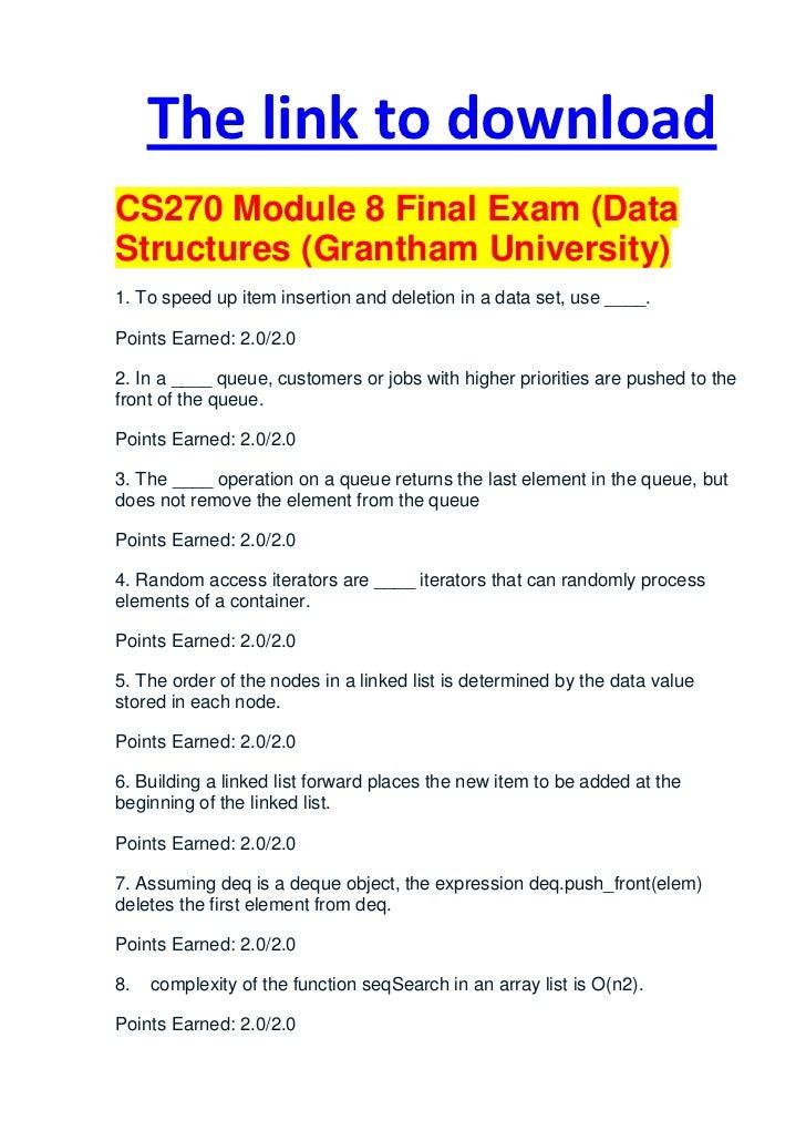 Cs270 module 8 final exam (data structures (grantham university)