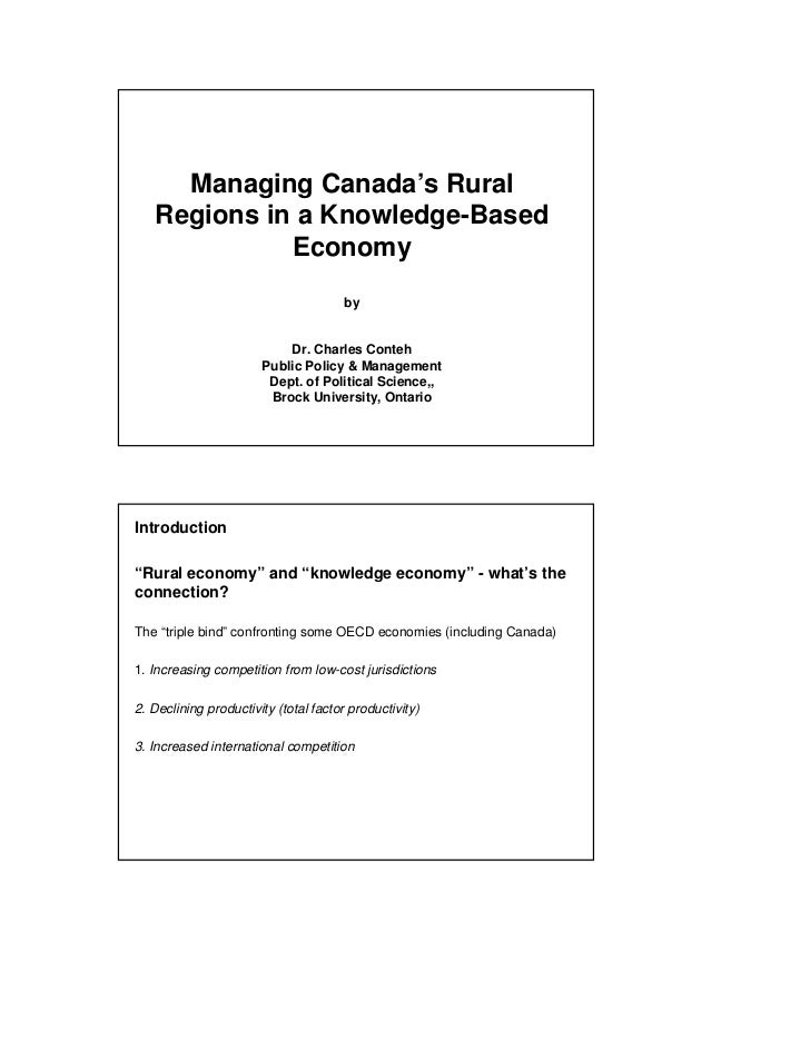 Managing Canada's Rural   Regions in a Knowledge-Based             Economy                                       by       ...