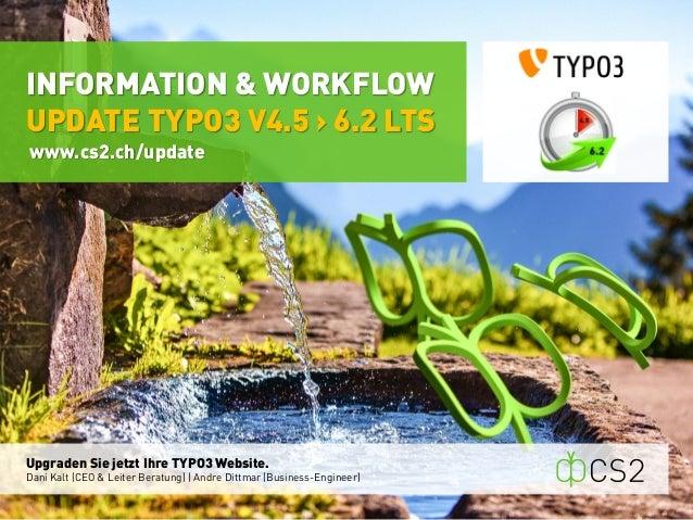Upgraden Sie jetzt Ihre TYPO3 Website.  Dani Kalt (CEO & Leiter Beratung)   Andre Dittmar (Business-Engineer)  INFORMATION...