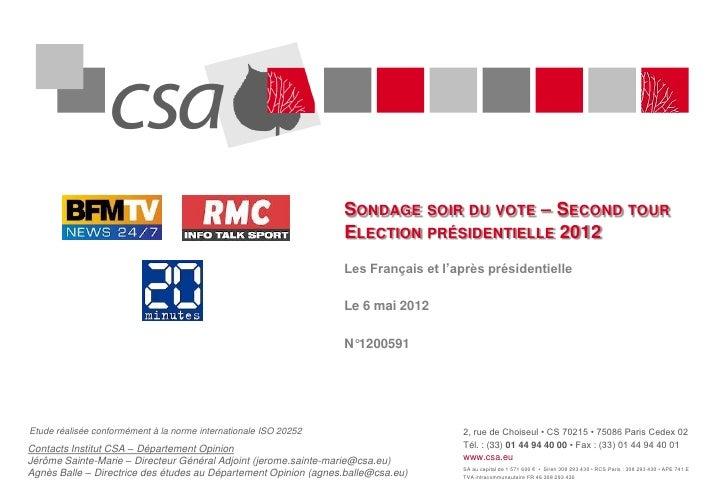 SONDAGE SOIR DU VOTE – SECOND TOUR                                                                  ELECTION PRÉSIDENTIELL...