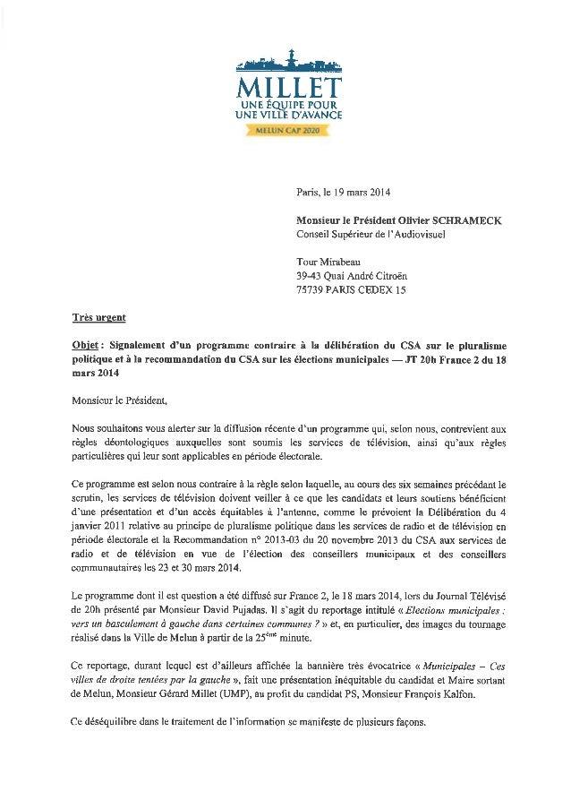 La lettre de Gérard Millet au président du CSA
