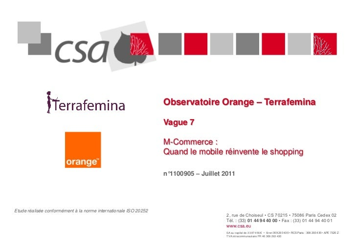 CSA - Observatoire Orange - Terrafemina - vague 7 M-Commerce : Quand le mobile réinvente le shopping