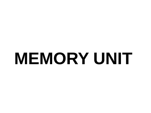 Memory Unit For engineering