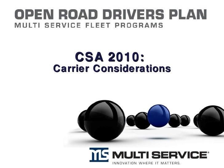 CSA 2010: Carrier Concerns