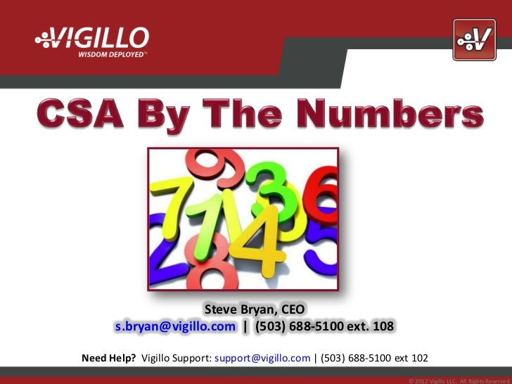 CSA By The Numbers Webinar Slides