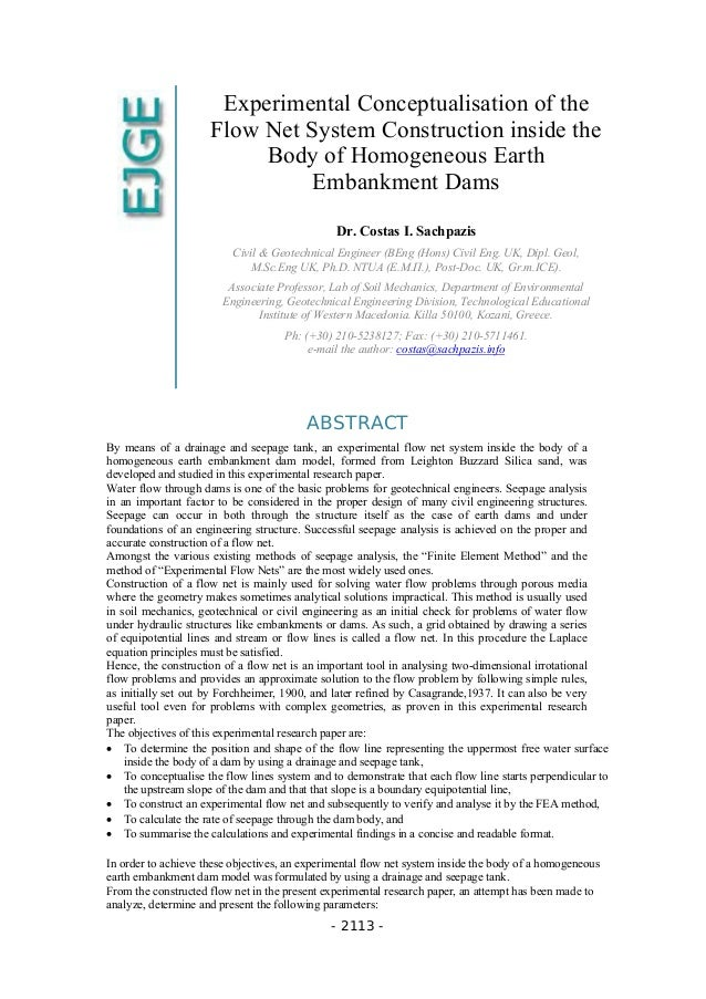 Experimental conceptualisation of the Flow Net system construction inside the body of homogeneous Earth Embankment Dams