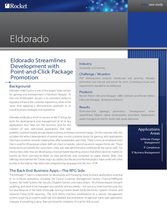 case study Rocket® Eldorado Streamlines Development with Point-and-Click Package Promotion Applications Areas Software Cha...
