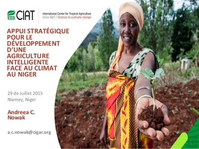 Andreea C. Nowak APPUI STRATÉGIQUE POUR LE DÉVELOPPEMENT D'UNE AGRICULTURE INTELLIGENTE FACE AU CLIMAT AU NIGER 29 de Juil...