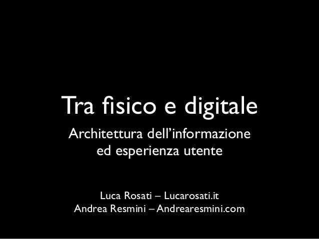 Architettura dell'informazione e user experience