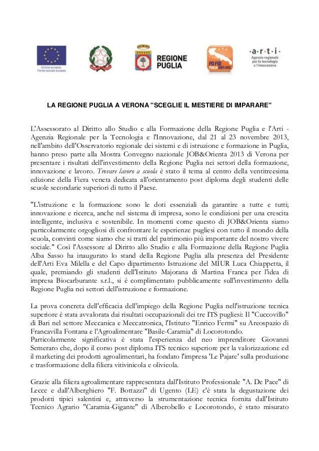 """JOB&Orienta 2013, la Regione Puglia """"Sceglie il mestiere di imparare"""""""