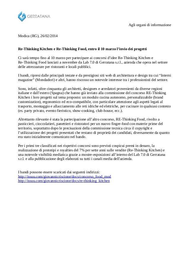 Agli organi di informazione Modica (RG), 26/02/2014 Re-Thinking Kitchen e Re-Thinking Food, entro il 10 marzo l'invio dei ...