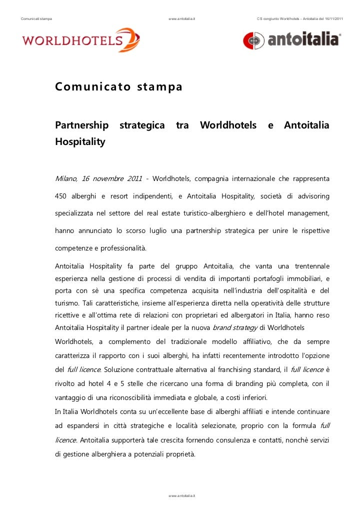Comunicati stampa                                          www.antoitalia.it                 CS congiunto Worldhotels - An...